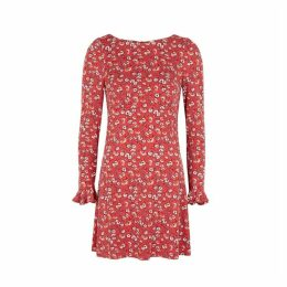Free People Say Hello Red Floral-print Dress