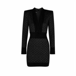 Balmain Black Metallic-knit Mini Dress