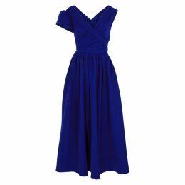 Preen By Thornton Bregazzi Liliana Royal Blue Stretch-satin Gown