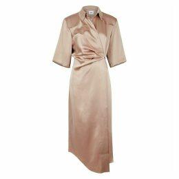 Nanushka Lais Blush Satin Shirt Wrap Dress