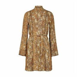 Nanushka Yai Brown Python-print Plissé Dress