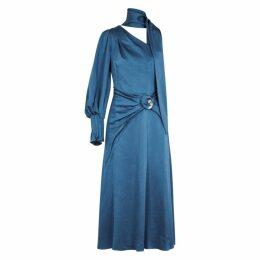 Peter Pilotto Blue One-shoulder Satin Midi Dress