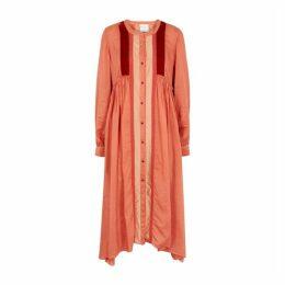 Forte forte Terracotta Panelled Cotton-blend Midi Dress