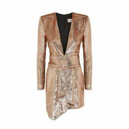 Alexandre Vauthier Rose Gold Sequin Mini Dress
