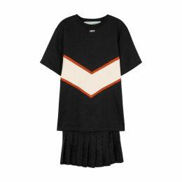 Off-White Black Logo Cotton Sweatshirt Dress