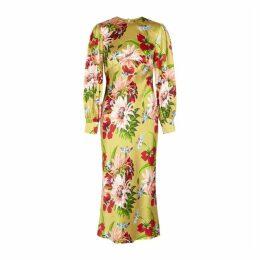 Olivia Von Halle Aureta Havana Floral-print Silk Midi Dress