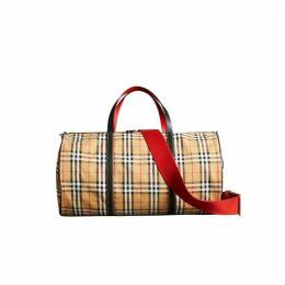 Burberry Large Vintage Check And Leather Barrel Bag