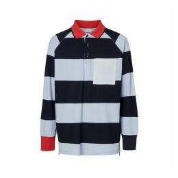 Burberry Long-sleeve Striped Cotton Pique Oversized Polo Shirt