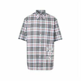 Burberry Short-sleeve Vintage Check Cotton Oversized Shirt