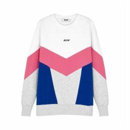 MSGM Panelled Logo-printed Cotton Sweatshirt