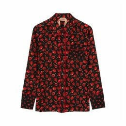 No.21 Black Printed Silk Shirt