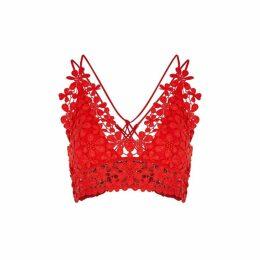 Free People Miss Dazie Red Crochet Bra Top