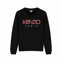Kenzo Black Logo-appliquéd Cotton Sweatshirt