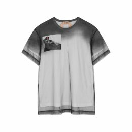 No.21 Tulle-layered Printed Cotton T-shirt