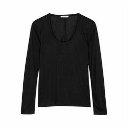 THE ROW Baxerton Black Stretch-jersey Top