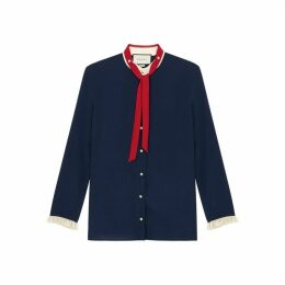 Gucci Navy Ruffle-trimmed Silk Shirt