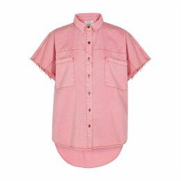 Oneteaspoon Daria Pink Distressed Denim Shirt
