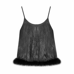 IN. NO Betsy Black Feather-trimmed Top