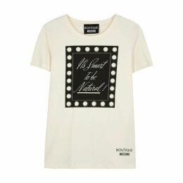Boutique Moschino Off-white Printed Cotton T-shirt