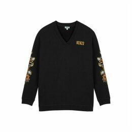 Kenzo Black Embroidered Cotton Sweatshirt