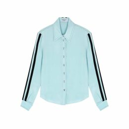 Serena Bute Serena Light Blue Striped Silk Shirt