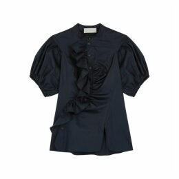 Peter Pilotto Navy Ruffle-trimmed Cotton Shirt