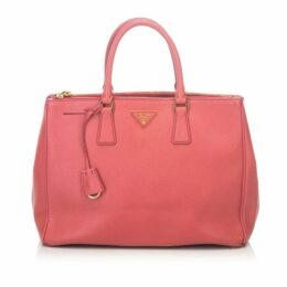 Prada Pink Large Saffiano Lux Galleria Double Zip Tote
