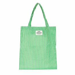 MADS NORGAARD Green Striped Canvas Tote