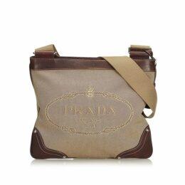 Prada Brown Canapa Canvas Crossbody Bag