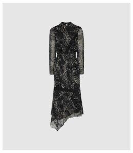 Reiss Luiza - Burnout Printed Midi Dress in Monochrome, Womens, Size 16