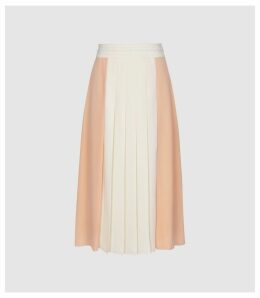 Reiss Abigail - Pleated Midi Skirt in Nude, Womens, Size 14