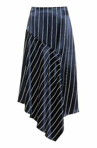 Striped high-waisted midi skirt with asymmetric hem