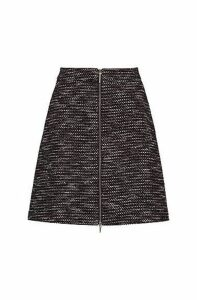 Regular-fit skirt with front zip in tweed