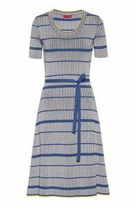 Midi dress in super-stretch ribbing with horizontal stripe