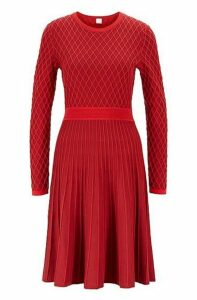 Two-tone knitted dress in a cotton-blend raised jacquard