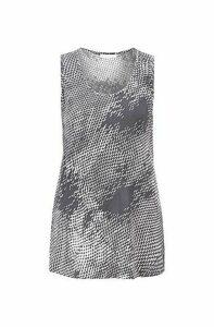 Sleeveless top in exclusive snake-print motif
