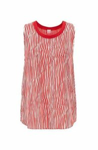 Sleeveless striped top in silk with knitted edge