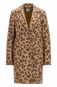 Leopard-print coat in a wool blend