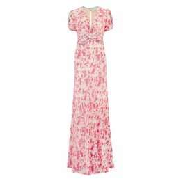 Libelula - Long Millie Dress Salmon Flower Splat Print