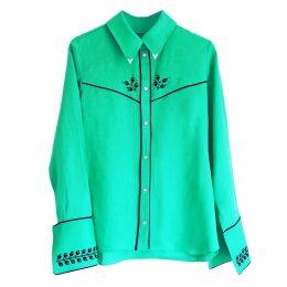 Florence Bridge - Embroidered Cowboy Shirt Jade Green