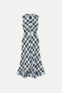 Alexander McQueen - Checked Bouclé-tweed Midi Dress - Blue