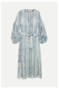 Hannah Artwear - Shaanti Printed Crepe De Chine Midi Dress - Blue