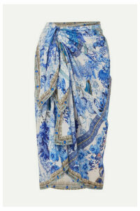 Camilla - Printed Cotton And Silk-blend Pareo - Bright blue