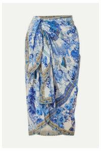 Camilla - Printed Cotton And Silk-blend Pareo - Bright blue