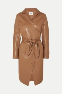 Nanushka - Ailsa Vegan Leather Wrap Dress - Brown