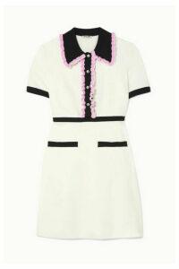 Miu Miu - Crystal-embellished Ruffled Stretch-cady Mini Dress - Ivory
