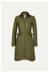 Burberry - Corduroy And Leather-trimmed Quilted Shell Coat - Army green