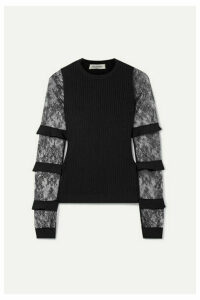 Valentino - Ruffle-trimmed Lace And Ribbed-knit Sweater - Black