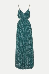 ViX - Ventana Ocean Cutout Printed Voile Maxi Dress - Navy