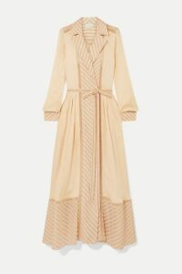 ARJÉ - Ami Embroidered Tulle-trimmed Striped Silk-poplin Dress - Beige